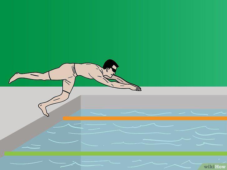 Spring van een startblok in het water